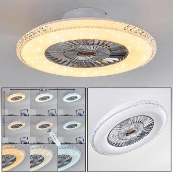 Piacenza ventilatore da soffitto LED Cromo, Bianco, 1-Luce, Telecomando