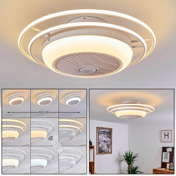 Sarasota ventilatore da soffitto LED Bianco, 3-Luci, Telecomando