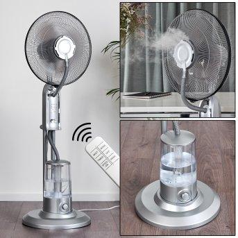 Milau Ventilatore da terra Grigio, Argento, Telecomando