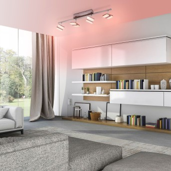 Leuchten-Direkt LOLAsmart-SABI Plafoniera LED Nichel opaco, 4-Luci, Telecomando, Cambia colore