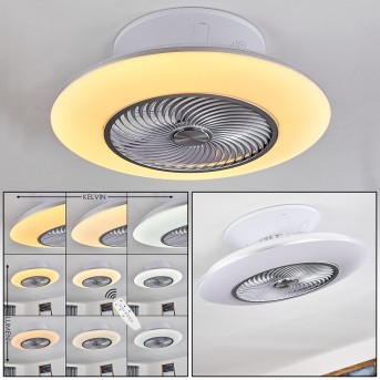Nagoya ventilatore da soffitto LED Bianco, 1-Luce, Telecomando
