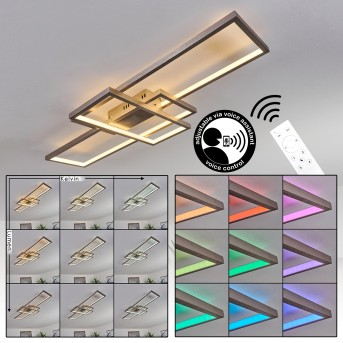 Momahaki Plafoniera LED Nichel opaco, 1-Luce, Telecomando