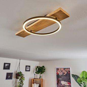 Pompu Plafoniera LED Nero, Legno chiaro, 1-Luce