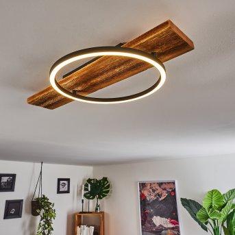 Pompu Plafoniera LED Nero, Legno scuro, 1-Luce