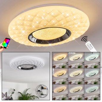 Roseto Plafoniera LED Cromo, Bianco, Trasparente, chiaro, 1-Luce, Telecomando
