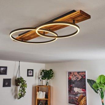 Pompu Plafoniera LED Nero, Legno scuro, 2-Luci