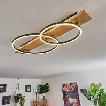 Pompu Plafoniera LED Nero, Legno chiaro, 2-Luci