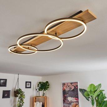 Pompu Plafoniera LED Nero, Legno chiaro, 3-Luci