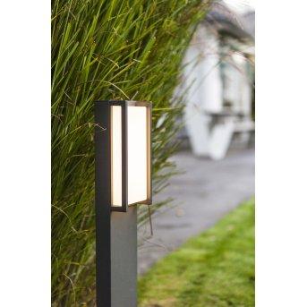 Lutec QUBO Lampioncino Segnapasso LED Antracite, 1-Luce, Cambia colore