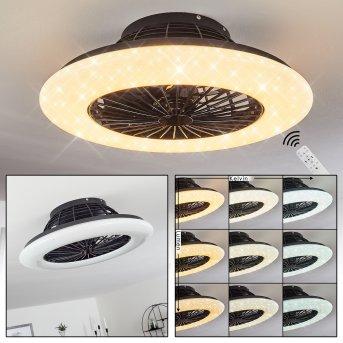 Piraeus ventilatore da soffitto LED Nero, 1-Luce, Telecomando