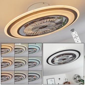 Terradura ventilatore da soffitto LED Cromo, Nero, Bianco, 1-Luce, Telecomando
