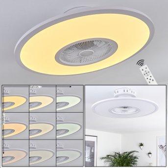 Marmorta ventilatore da soffitto LED Bianco, 1-Luce, Telecomando