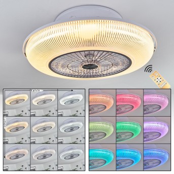 Riccione ventilatore da soffitto LED Bianco, 1-Luce, Telecomando, Cambia colore