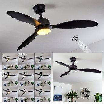 Chiapeto ventilatore da soffitto LED Nero, 1-Luce, Telecomando