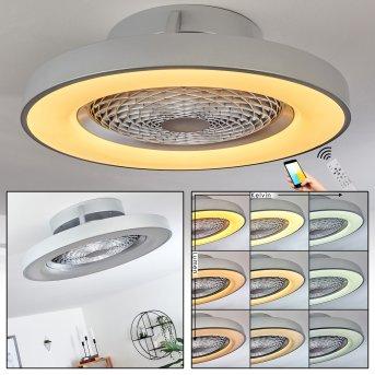 Penon ventilatore da soffitto LED Argento, 1-Luce, Telecomando