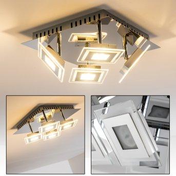 Cerreto Plafoniera LED Cromo, 4-Luci