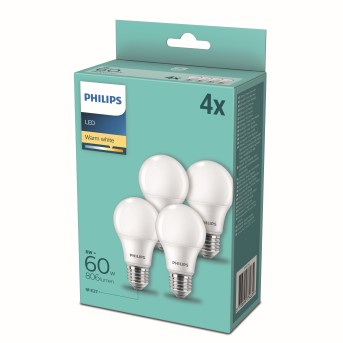 Philips LED Set di 4 x E27 9 Watt 2700 Kelvin 806 Lumen