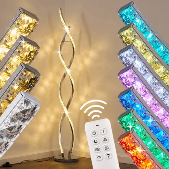 Lampada da terra Assuan LED Cromo, 1-Luce, Telecomando, Cambia colore