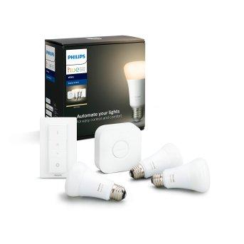 Philips Hue LED White E27 3er Starter-Set di 3, 2700 Kelvin