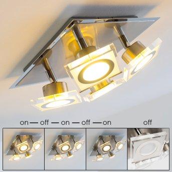Kolari Plafoniera LED Nichel opaco, Cromo, 4-Luci
