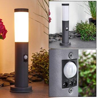 Gaborone Lampioncino Segnapasso Antracite, 1-Luce, Sensori di movimento