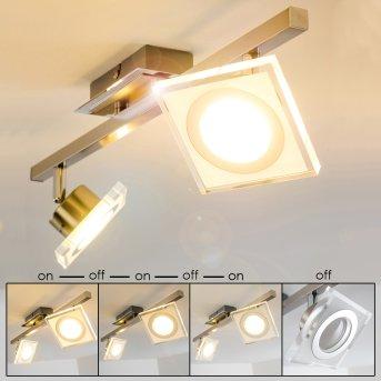 Kolari Plafoniera LED Nichel opaco, Cromo, 2-Luci