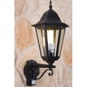 Lutec BRISTOL Applique per esterno Nero, Trasparente, chiaro, 1-Luce, Sensori di movimento