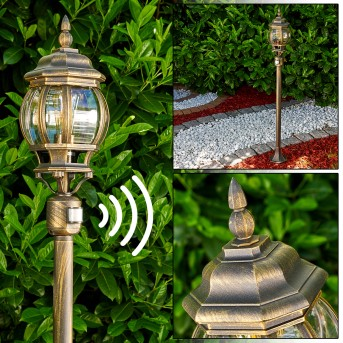 Lentua Lampada da terra per esterno Marrone, Oro, 1-Luce, Sensori di movimento