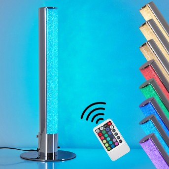 Flaut Lampada da Tavolo LED Cromo, 1-Luce, Telecomando, Cambia colore