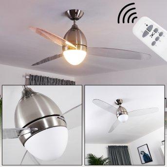 Varazze ventilatore da soffitto Nichel opaco, Trasparente, chiaro, 1-Luce, Telecomando