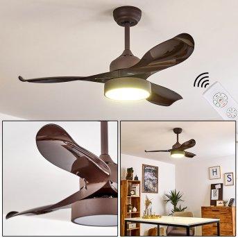 Doha ventilatore da soffitto LED Marrone, 1-Luce, Telecomando