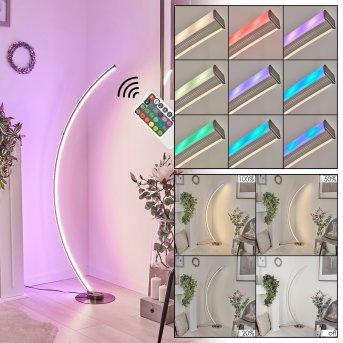 Scar RGB Lampada da terra LED Nichel opaco, 1-Luce, Telecomando, Cambia colore