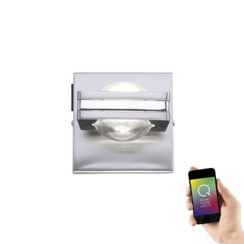 Applique Paul Neuhaus Q-Fisheye LED Acciaio inox, 2-Luci, Telecomando, Cambia colore