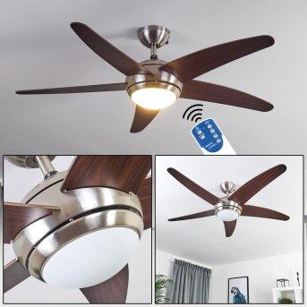 Imon ventilatore da soffitto Nichel opaco, Legno scuro, 1-Luce, Telecomando