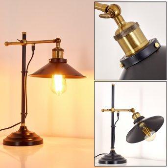 Gudem Lampada da Tavolo Nero-Oro, 1-Luce