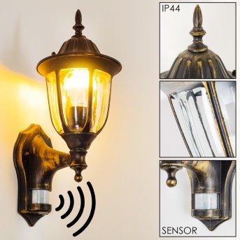 Ribadeo Applique da esterno Nero-Oro, 1-Luce, Sensori di movimento
