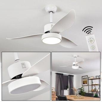 Doha ventilatore da soffitto LED Bianco, 1-Luce, Telecomando