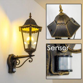 Hongkong Applique da esterno Marrone, Oro, 1-Luce, Sensori di movimento