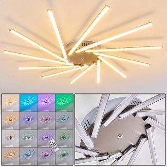 Kinna Plafoniera LED Acciaio inox, 12-Luci, Telecomando, Cambia colore