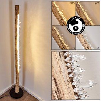 Bansberia Lampada da terra LED Nero, Legno chiaro, 1-Luce